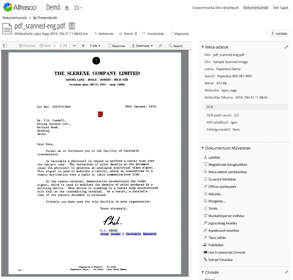 Szkennelt PDF automatikus karakterfelismerése és kereshető PDF előállítása